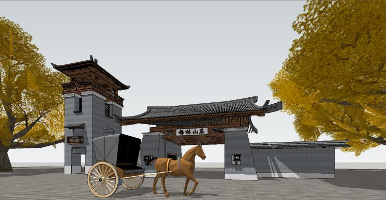 中式景区大门SU模型