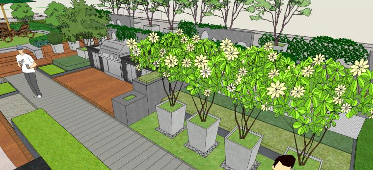室外园林屋顶花园规划改造设计SU模型