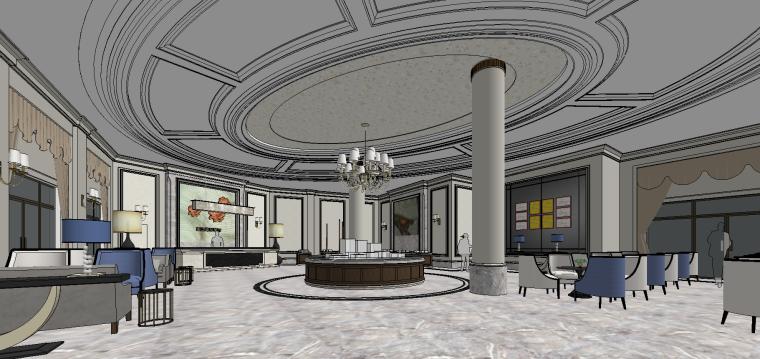 商业设计-法式售楼处大堂室内SU模型设计