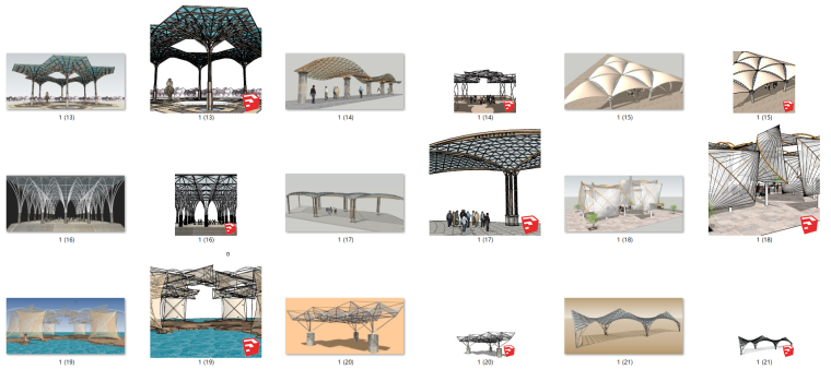 77个室外廊架遮阳架构筑su模型_2
