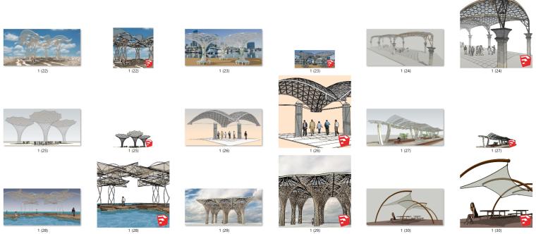 77个室外廊架遮阳架构筑su模型_3