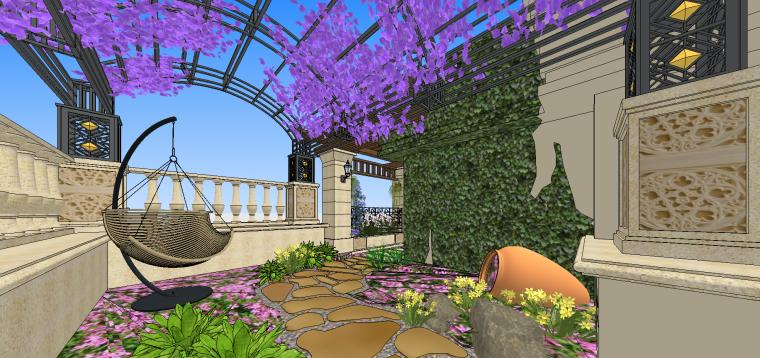 欧式古典屋顶花园庭院SU模型设计