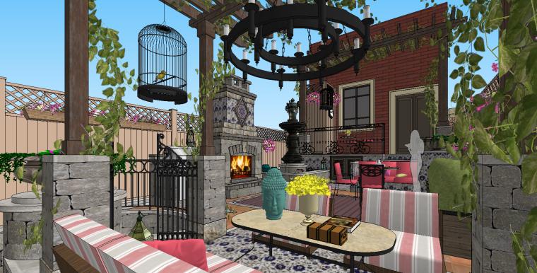 欧式别墅庭院景观SU模型设计