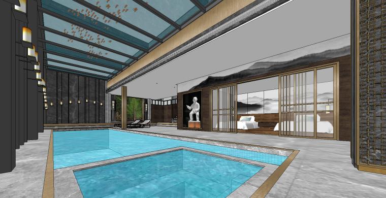 新中式家庭游泳池SU模型设计