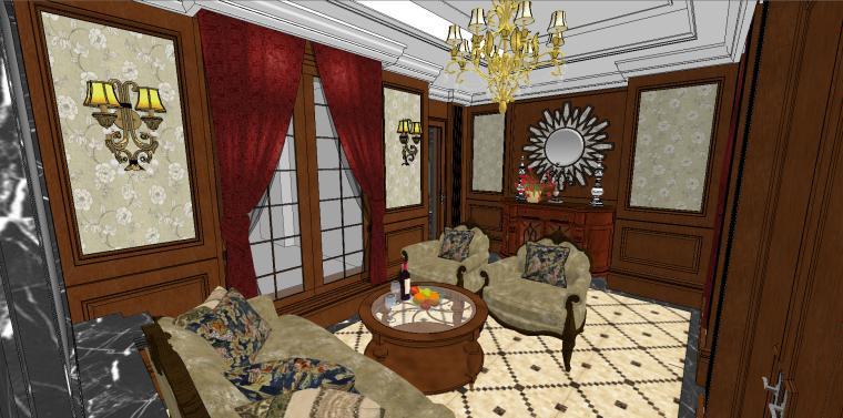 欧式奢华品酒酒窖SU模型设计