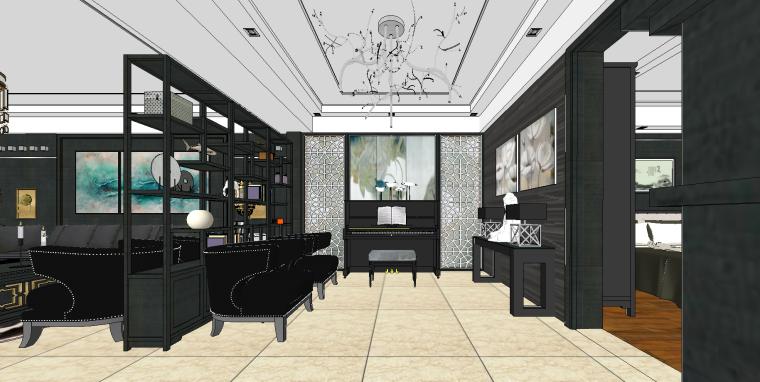 新中式住宅SU模型设计