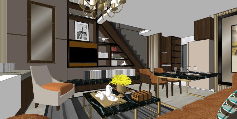 现代时尚挑高层公寓SU模型设计