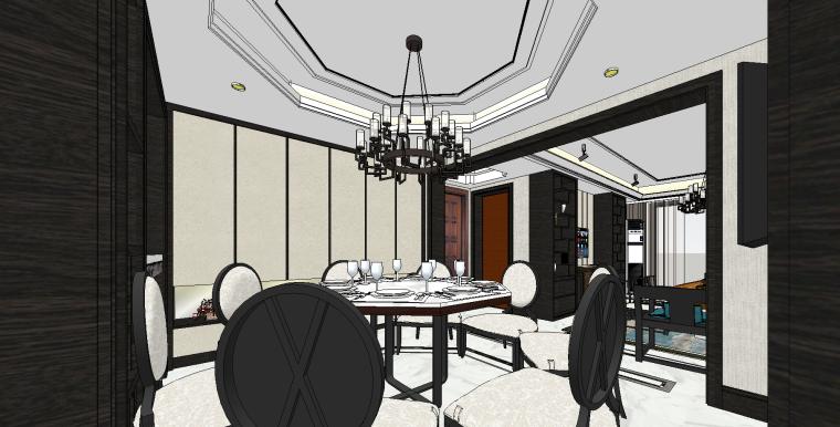 新中式套房SU模型设计