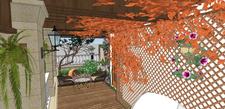 欧式古典花园阳台SU模型设计