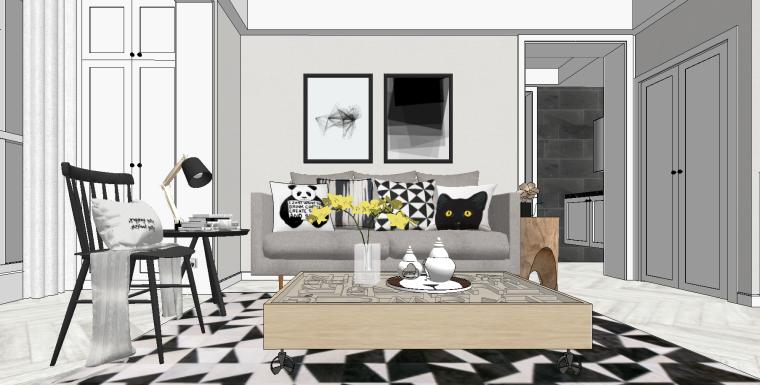现代北欧家居住宅SU模型设计