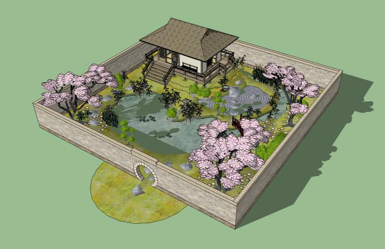 8套日式枯山水庭院SU模型设计