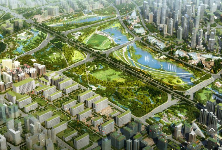 [四川]都江堰滨水湿地生态曲线中央公园方案