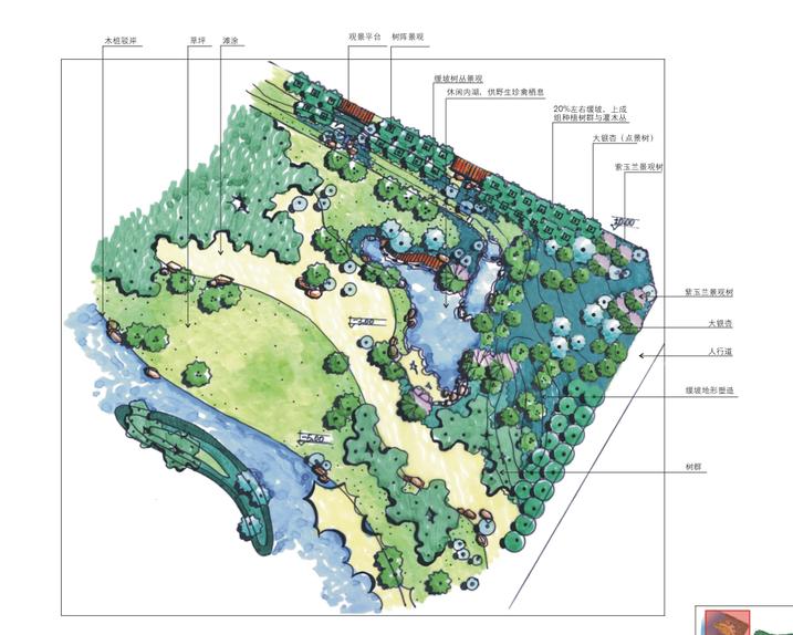 70张滨水公园广场景观小节点手绘图