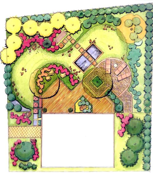 景观手绘设计案例-庭院景观,景观细部,小品