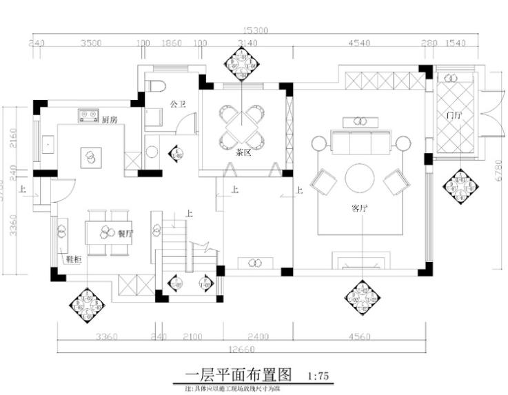 两层现代简约风格两居室住宅施工图+效果图