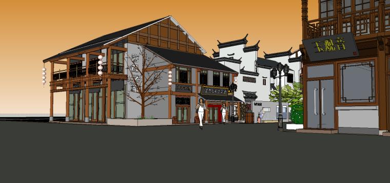 中式古建筑-古建筑商业街SU模型