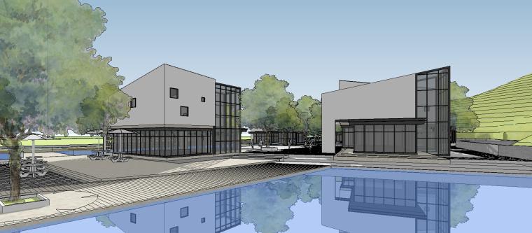 新中式滨水商业街SU模型设计
