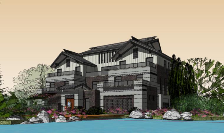89个新中式徽派建筑风格SU模型_7