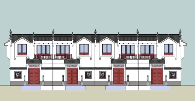 89个新中式徽派建筑风格SU模型_3