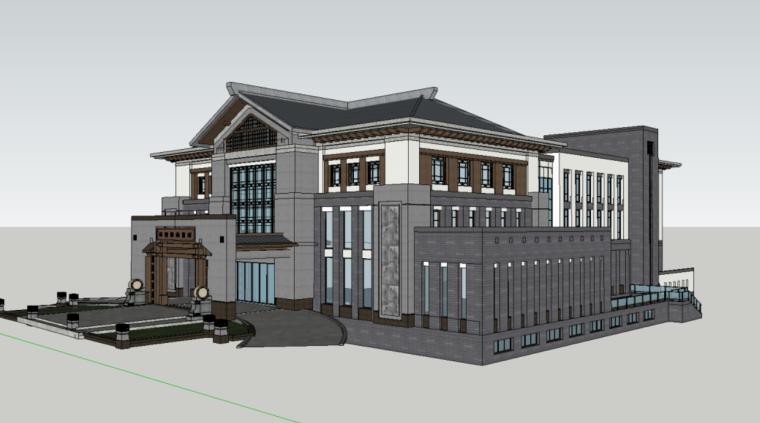 89个新中式徽派建筑风格SU模型_14