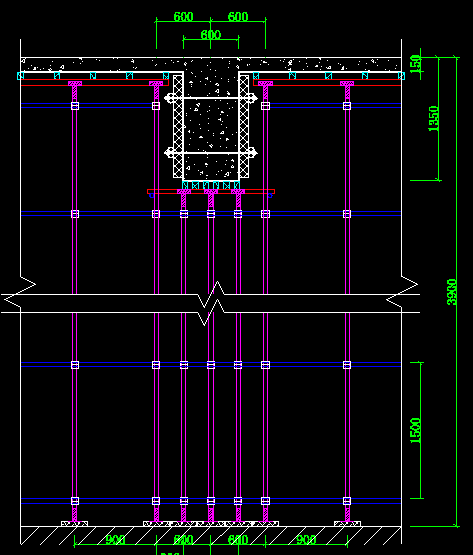 支模架梁底顶托内双钢管如何与架体连接?