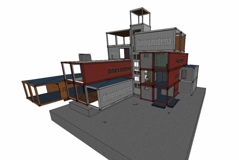 10组SU草图大师创意集装箱建筑素材(五)