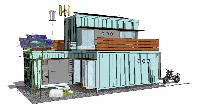 10组SU草图大师创意集装箱建筑素材(一)
