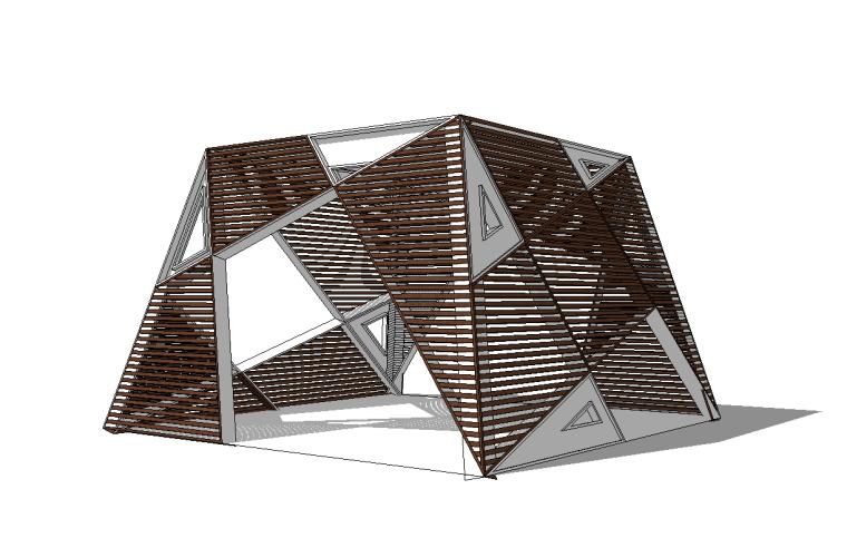 6组现代廊架SU草图大师模型素材(十一)