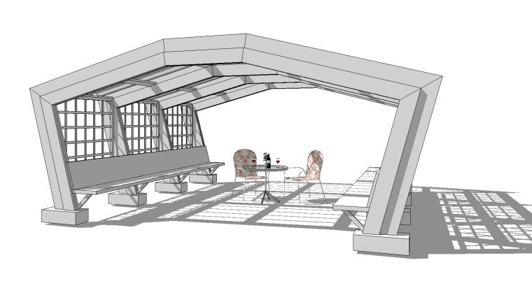 6组现代廊架SU草图大师模型素材(八)