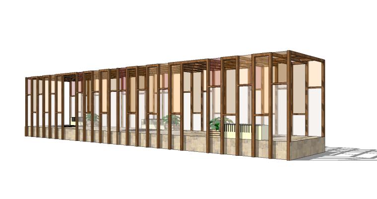 6组现代廊架SU草图大师模型素材(二)
