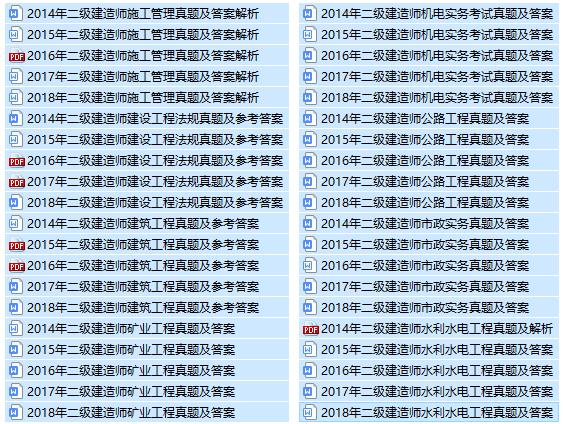 2014-2018年二建考试历年真题(所有专业)