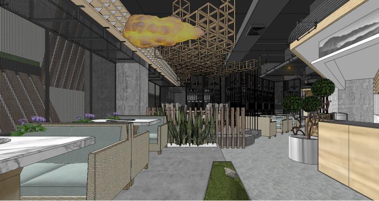 现代时尚火锅餐厅SU模型设计