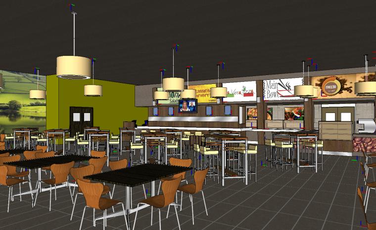 国外快餐厅店SU模型设计