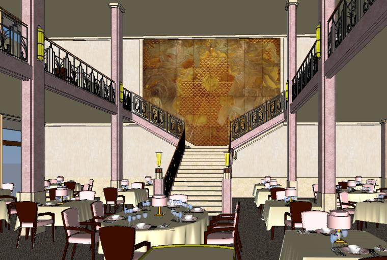 欧式酒店室内资料下载-国外欧式风格酒店SU模型设计(一)