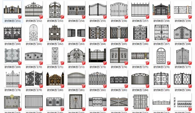 门详细做法资料下载-51组欧式铁艺门SU模型设计合集