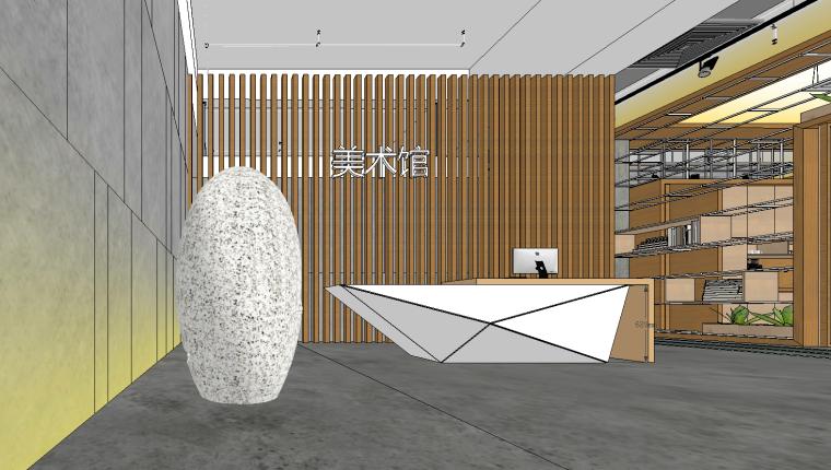 现代大型美术展览馆展厅SU模型设计