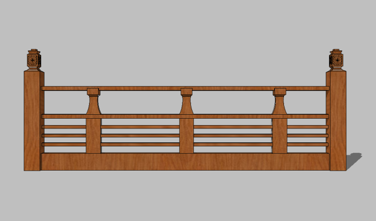82组新农村木质栏杆木扶手围挡护栏SU模型_8