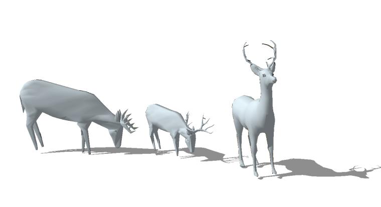41组创意动物群羊小鹿鹿群雕塑小品SU模型_3