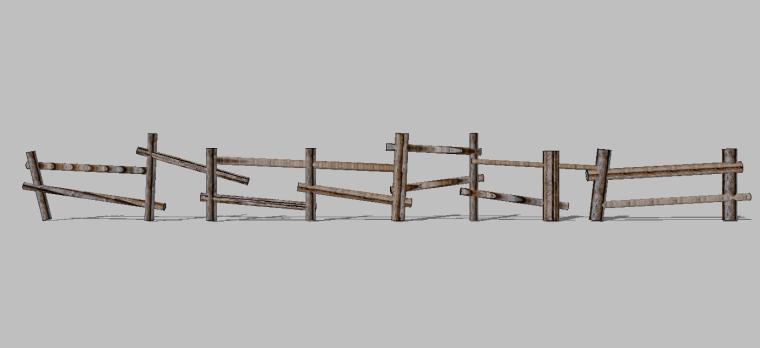 82组新农村木质栏杆木扶手围挡护栏SU模型_6