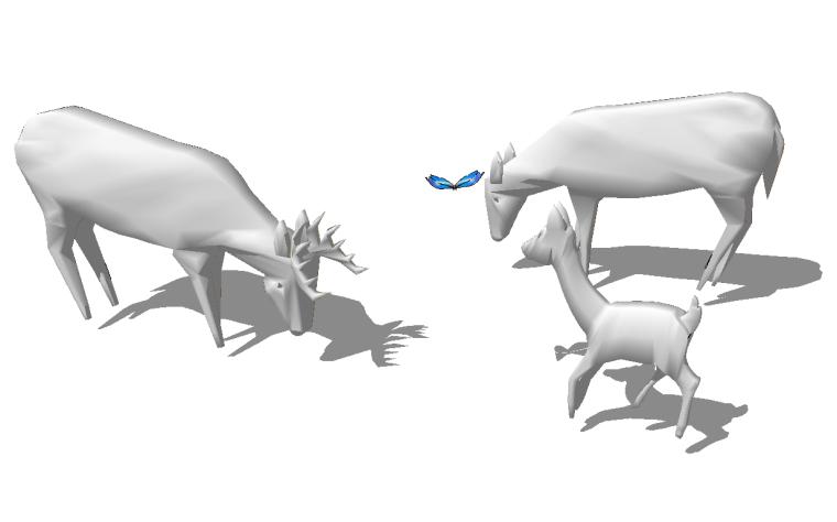 41组创意动物群羊小鹿鹿群雕塑小品SU模型_4