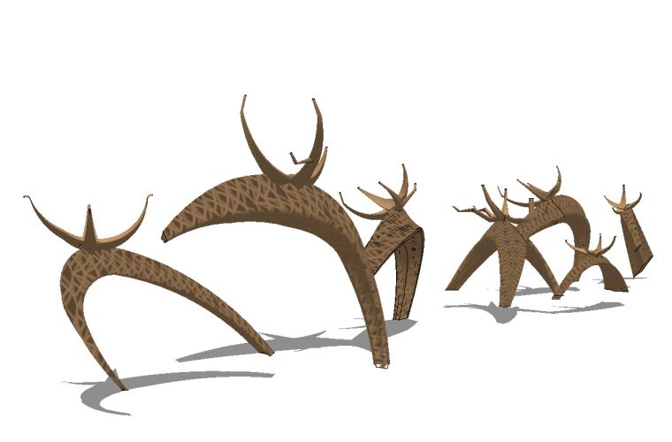 41组创意动物群羊小鹿鹿群雕塑小品SU模型_7