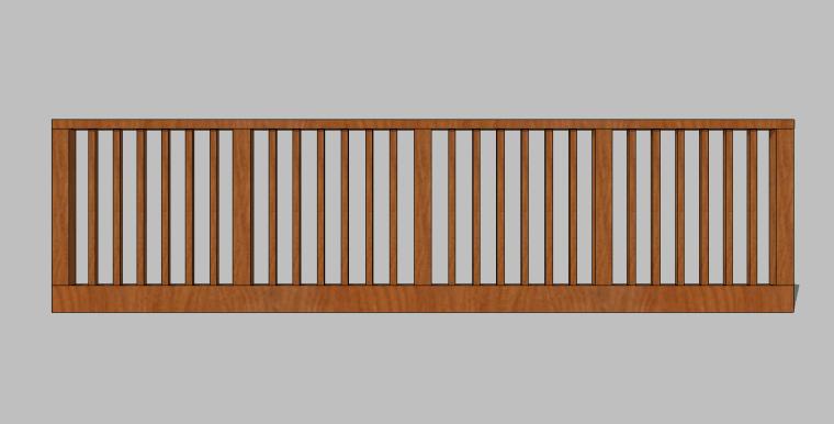 82组新农村木质栏杆木扶手围挡护栏SU模型_7