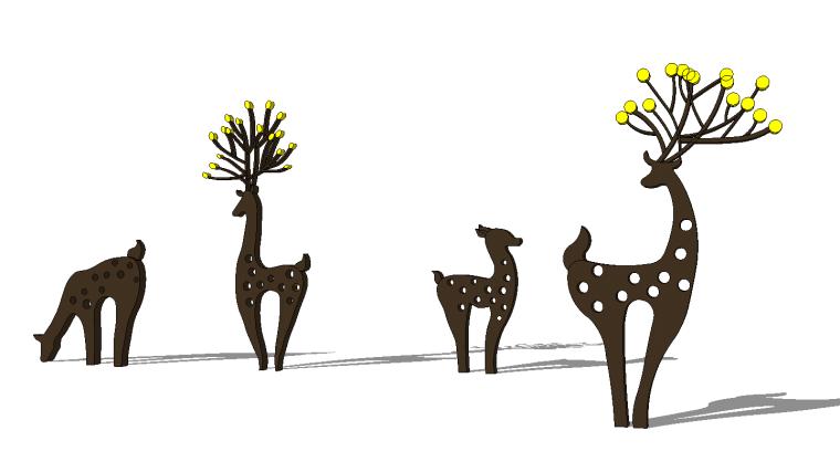 41组创意动物群羊小鹿鹿群雕塑小品SU模型_8