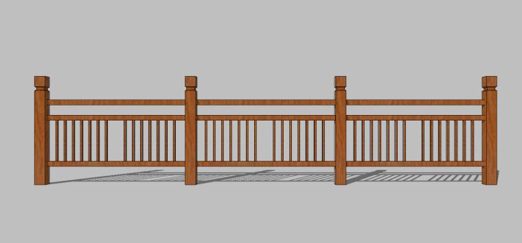 82组新农村木质栏杆木扶手围挡护栏SU模型_5
