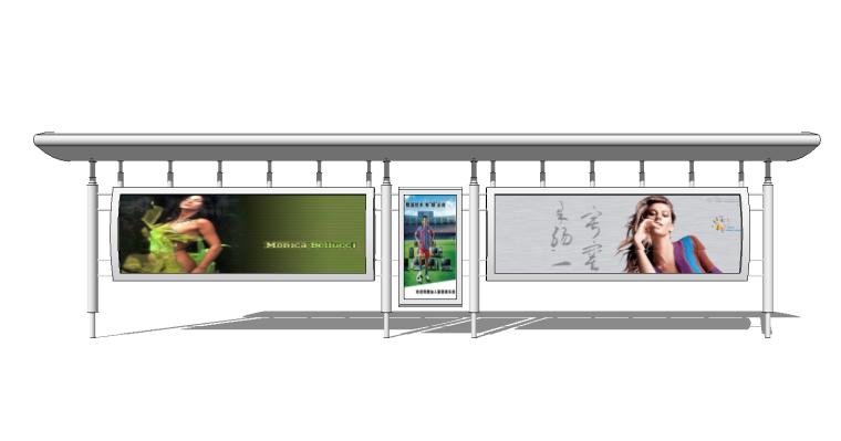25组现代新中式公交站宣传栏告示栏指示牌SU_7