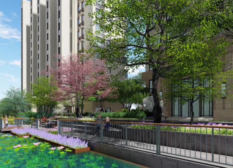 """""""纯林社区""""中式住宅景观方案深化设计-河岸提升效果图"""