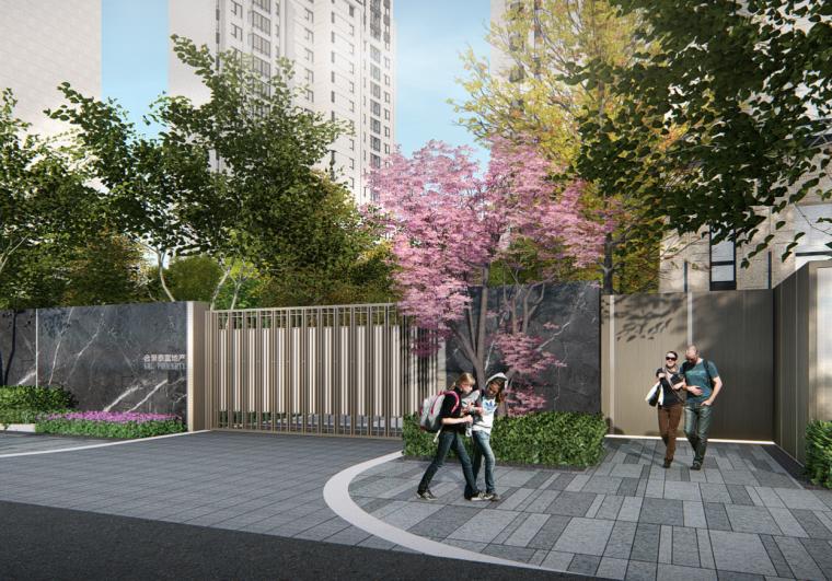 [重庆]现代奢雅山水住宅景观方案设计文本-东边主入口效果图