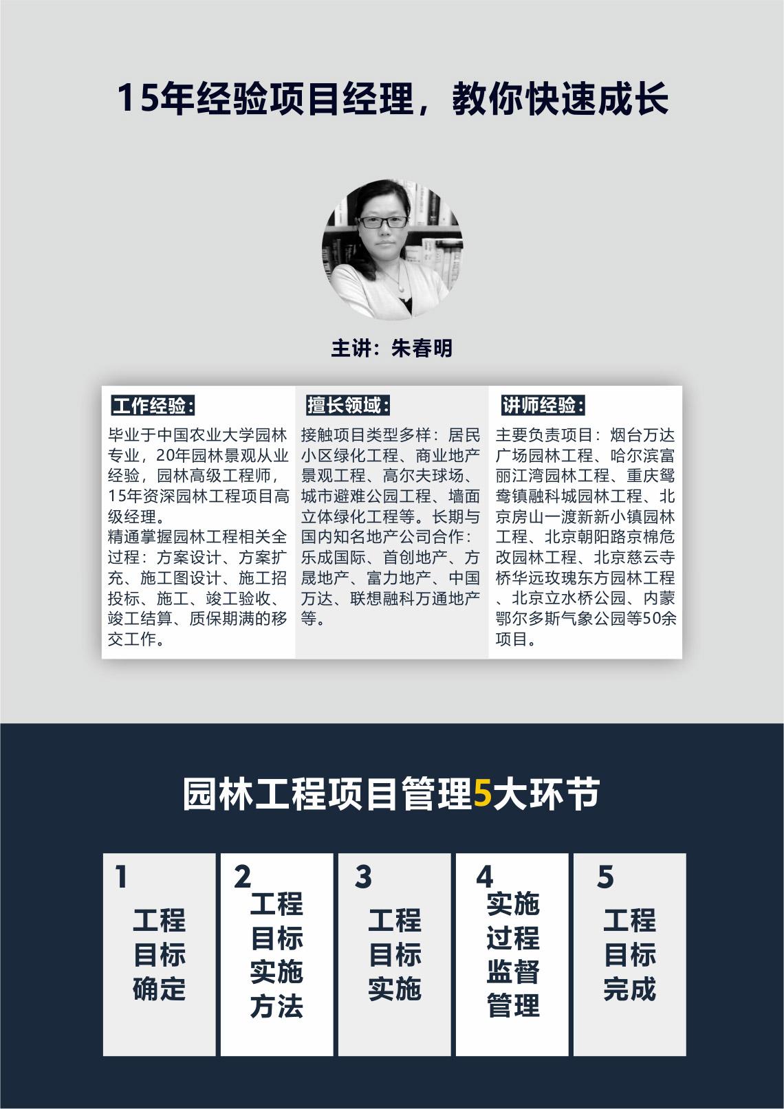朱春明老师拥有丰富的园林景观施工经验,负责过北京等城市的公建及住宅项目,拥有知名地产公司经验,认真负责。