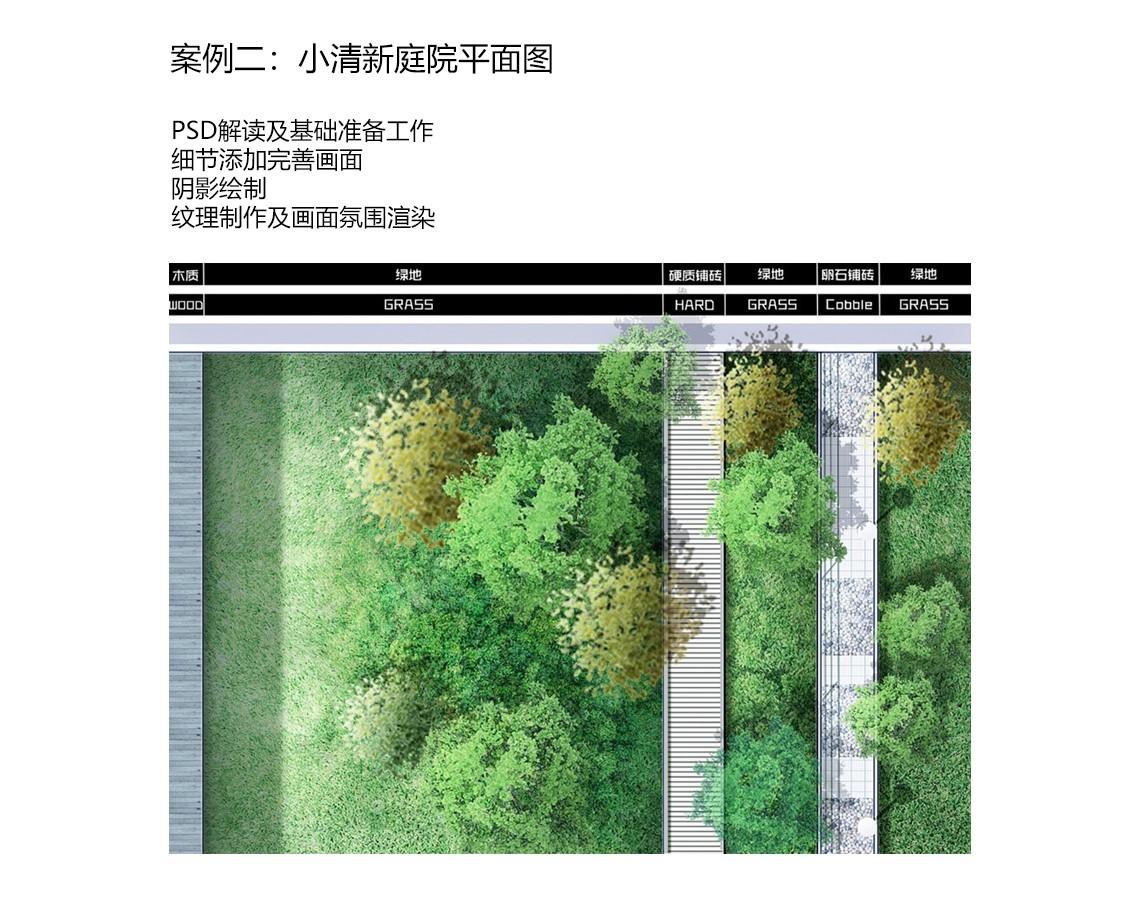案例二是庭院景观平面图。主要以清新明快为主。