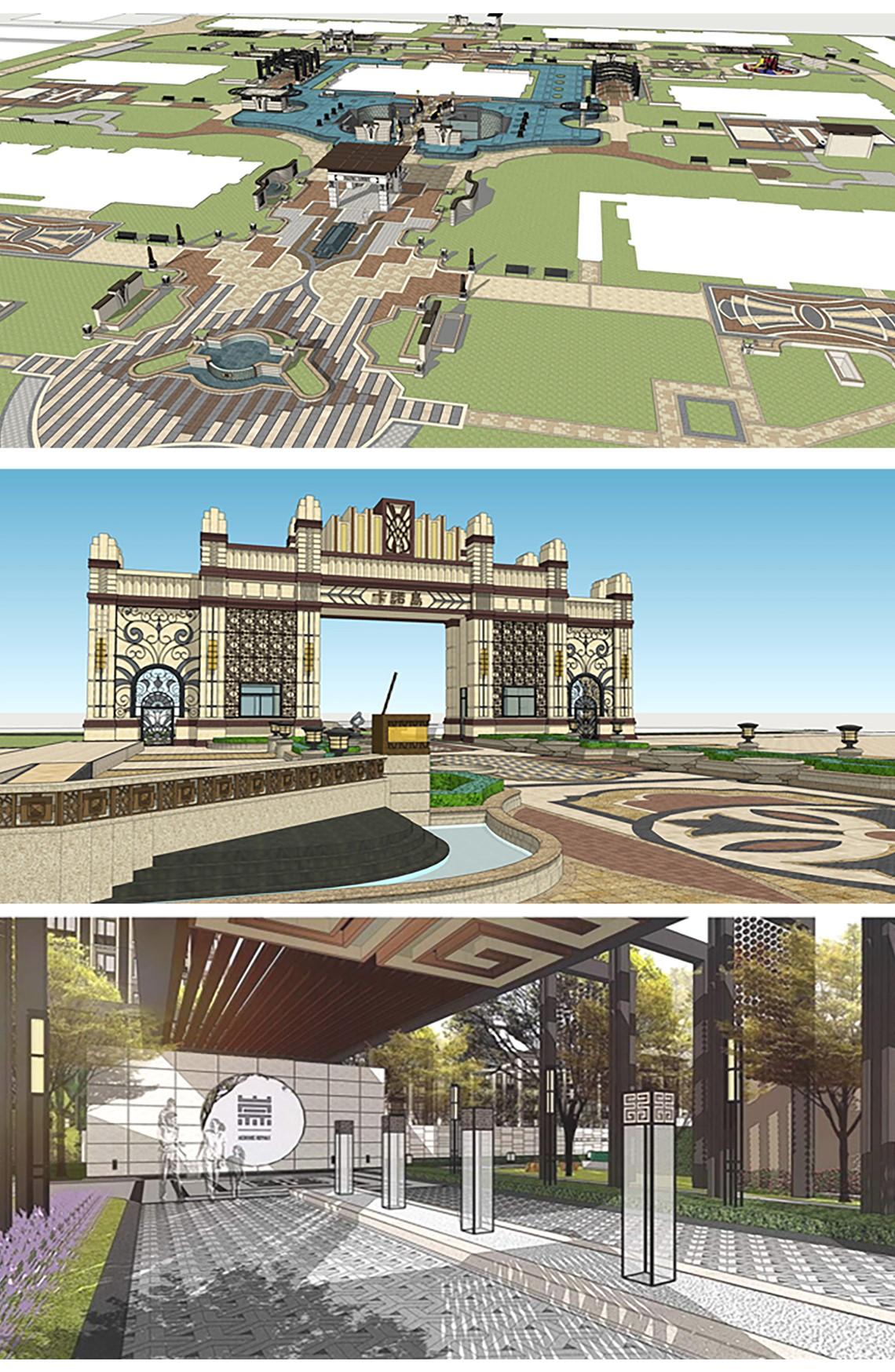 案例一:新中式庭院实战,案例二:ARTDECO风格住宅小区项目概要,Sketchup园林景观建模,Sketchup建模,草图大师建模